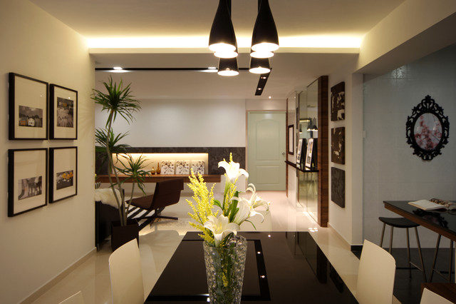 Modern Apartment in Singapore with a Clean Design - Moderno - Sala ...