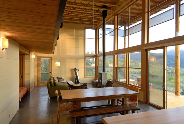 Modern cabin rustic dining room seattle by johnston architects Modern cabin interior design