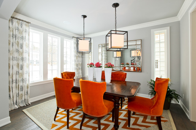 Modern cottage dream home in edina for Dining room ideas orange