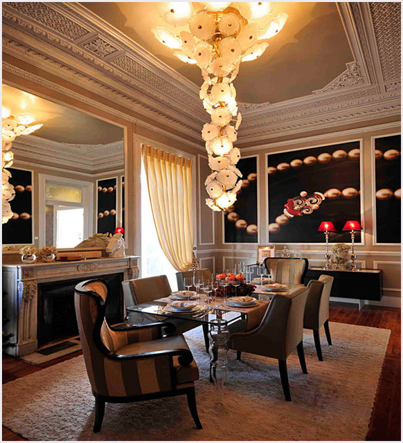Contemporary Dining Room Chandeliers: Modern Custom Made Hand Crafted Murano Glass Chandelier