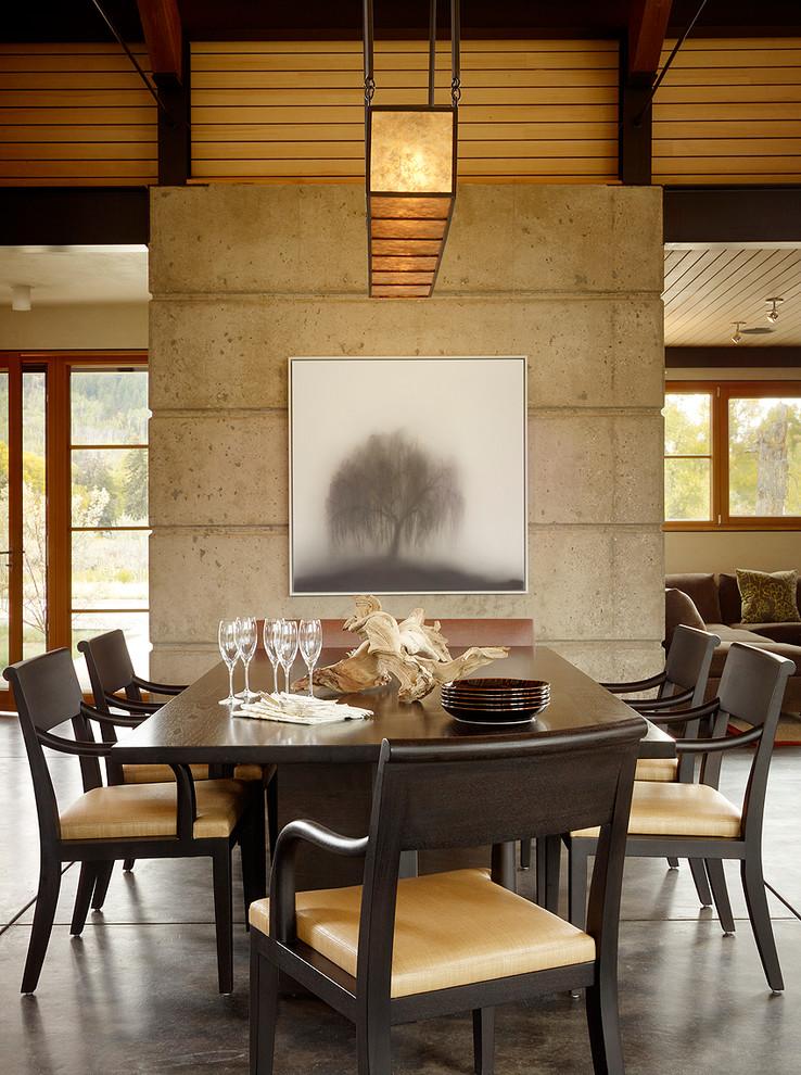 Dining room - modern concrete floor dining room idea in Jackson