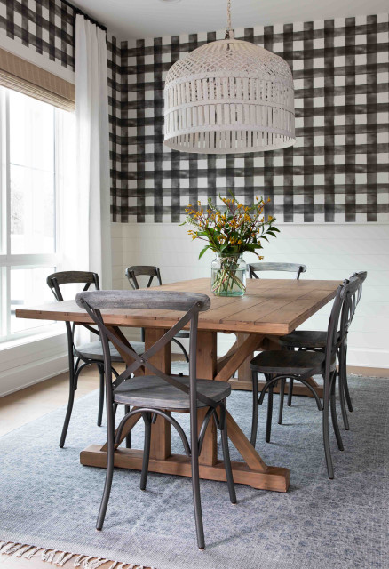 Modern Farmhouse Dining Room Wallpaper Country Dining Room Austin By Nuela Designs Houzz Uk
