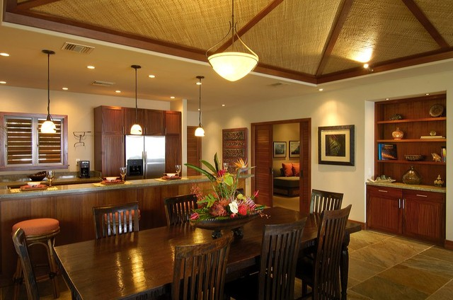 Modern Hawaii Beach Cottage Traditional Dining Room
