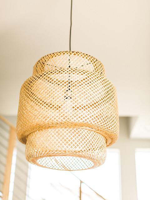 Modern Ikea Sinnerlig Bamboo Pendant Midcentury Dining