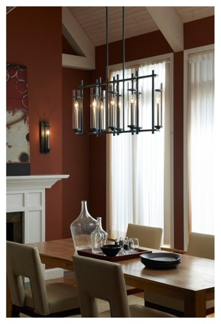 Modern Industrial Chic Iron Linear Chandelier With