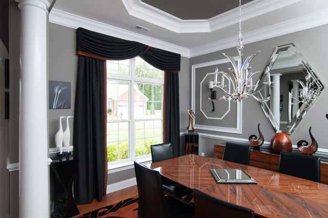 Modern living spaces modern dining room raleigh by for Modern dining room window treatments