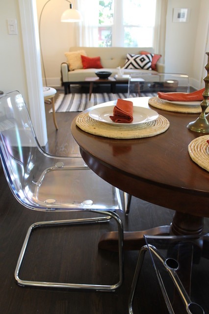 Modern Meets Traditional Clear Acrylic Chairs With Wooden