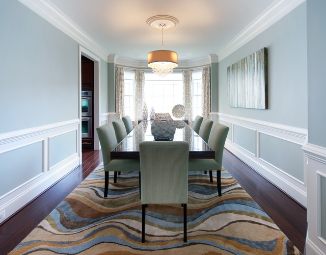 Beautiful Inspiration For A Timeless Dark Wood Floor Enclosed Dining Room Remodel In  DC Metro With Blue Part 20