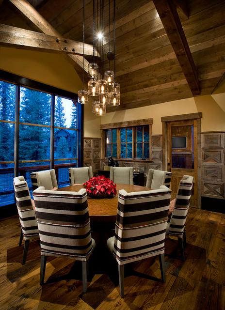 Interior designers decorators modern mountain cabin rustic dining room