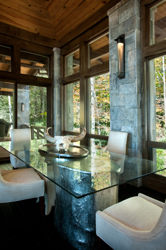 Inspiration for a rustic dining room remodel in Charlotte