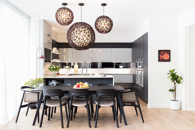 Black and milk interior design london · interior designers decorators modern new home in hampstead dining area contemporary dining room