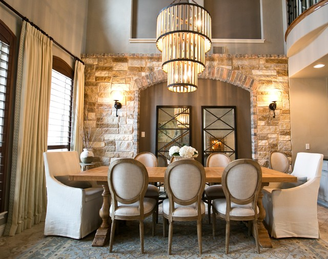 Modern rustic dining dining room austin by robin for Rustic dining room designs