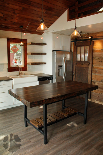 Modern Rustic Reclaimed Wood and Steel Dining Table farmhouse-dining-room