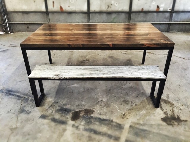 modern rustic reclaimed wood and steel dining table