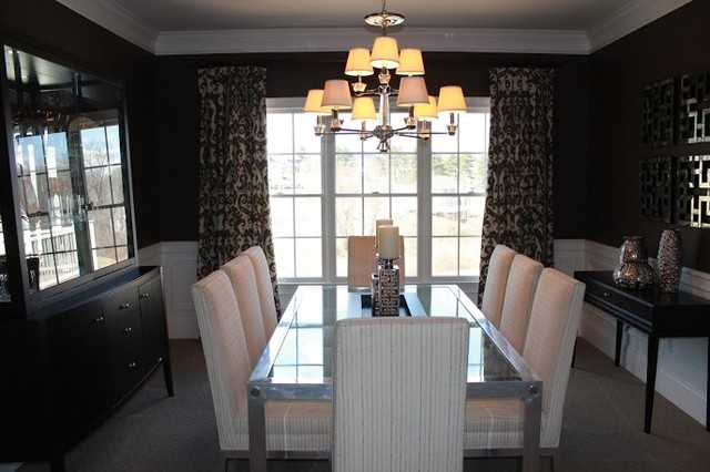 Modern Silver and Brown Dining Room traditional-dining-room