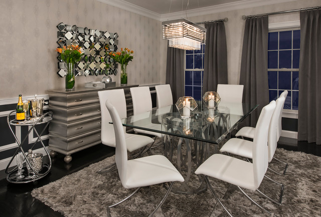 Modern Silver White And Black Dining, Silver Dining Room Ideas