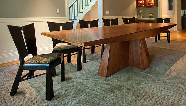 Modern Walnut Dining Table And Ebonized Charis Modern Dining Room
