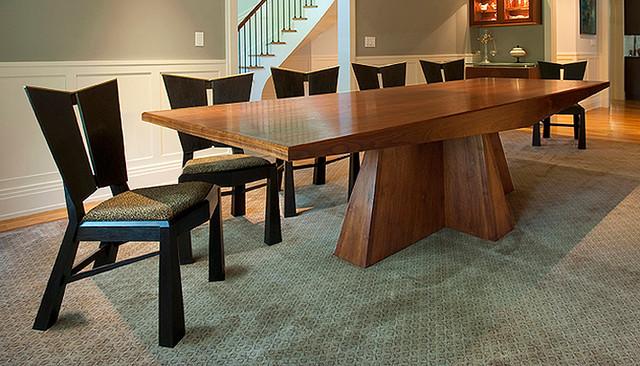 Modern Walnut Dining Table and Ebonized Charis - Modern ...