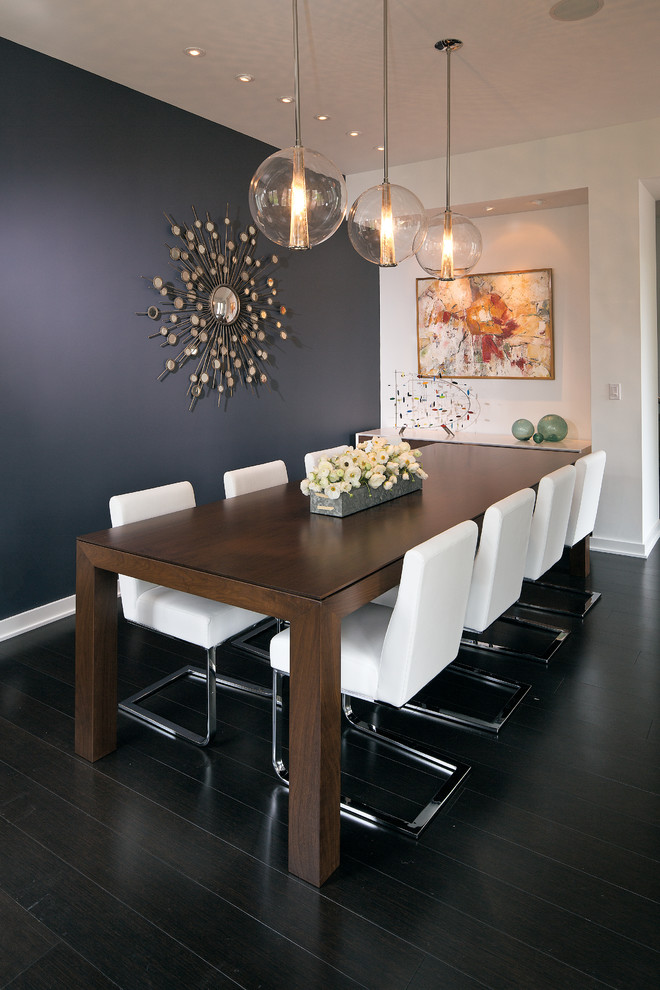 Dining room - mid-sized contemporary dark wood floor dining room idea in Indianapolis with blue walls and no fireplace