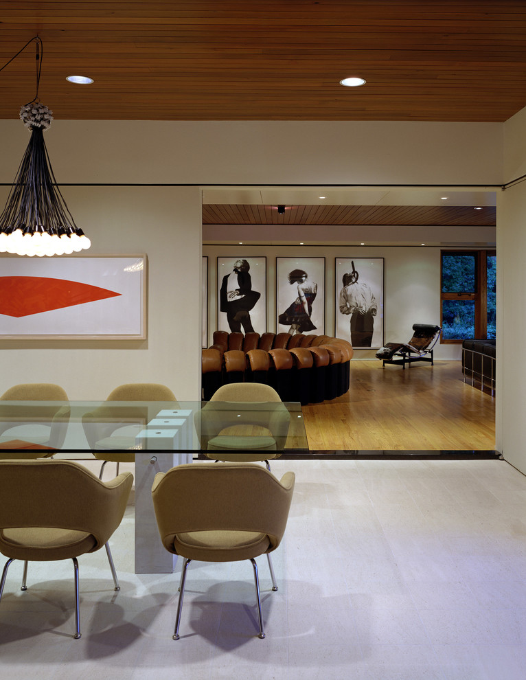 Inspiration for a modern dining room remodel in Other with white walls