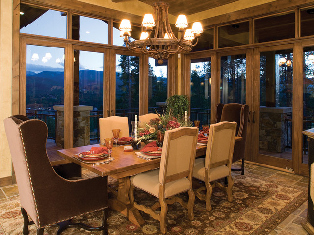 This is an example of a country dining room in Denver.