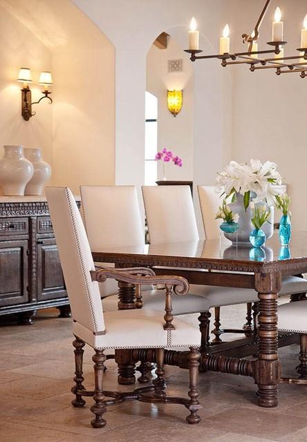 montecito transitional estate - mediterranean - dining room