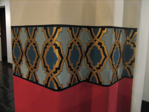 Moorish Border Pattern Wrapping Around a Dining Room eclectic dining room