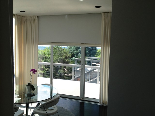 Motorized Roller Shades Paired With Soft Treatments