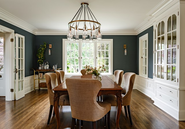 Elegant Enclosed Dining Room Photo In Portland With Dark Wood Floors And Blue Walls