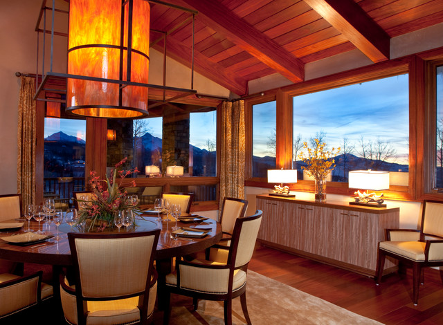 Mountain Contemporary Cabin Contemporary Dining Room