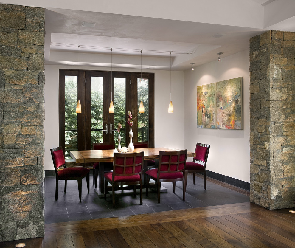 Example of a trendy dark wood floor dining room design in San Francisco with white walls