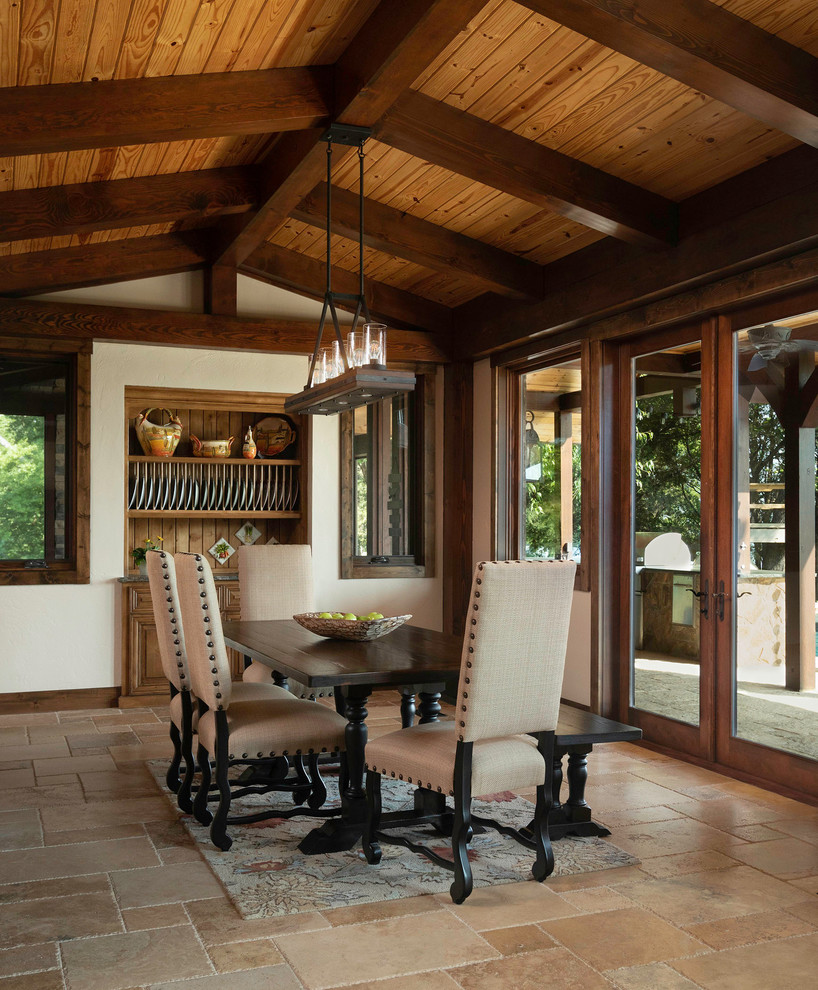 Mountain Style Timber Frame Luxury Home Dining