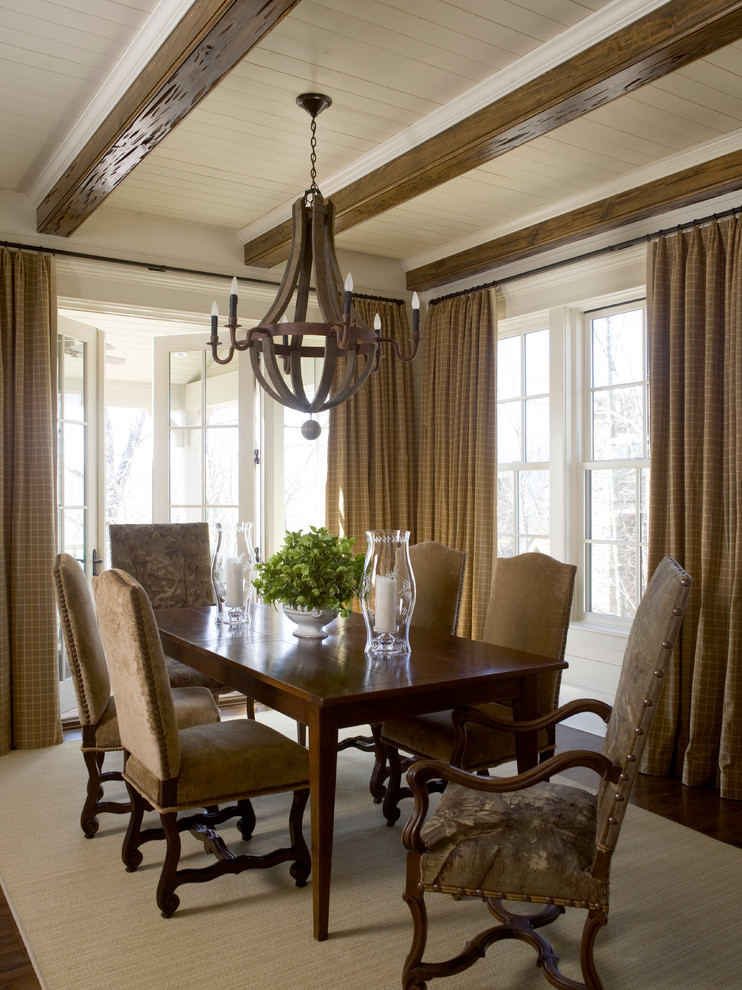 Great room - large traditional medium tone wood floor great room idea in Raleigh with white walls