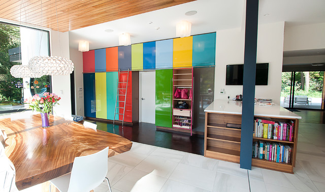 Multi Colored Cabinets In Mud Room Contemporary Dining