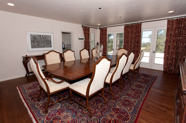 Multiple living spaces transitional-dining-room