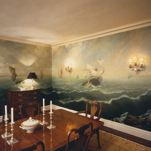 Murals Traditional Dining Room, Dining Room Murals Pictures