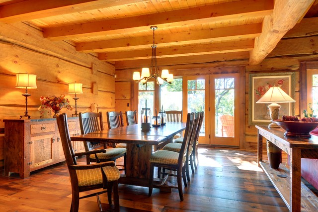 Muskoka Log Home rustic-dining-room