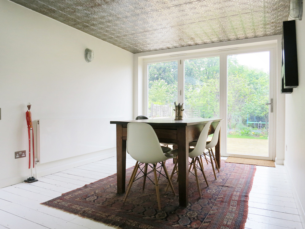 Inspiration for an eclectic painted wood floor and white floor dining room remodel in London