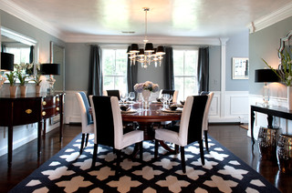 My Houzz: A Basic Builder Home Gets the Glam Treatment - Traditional - Dining Room - Boston - by Mary Prince Photography