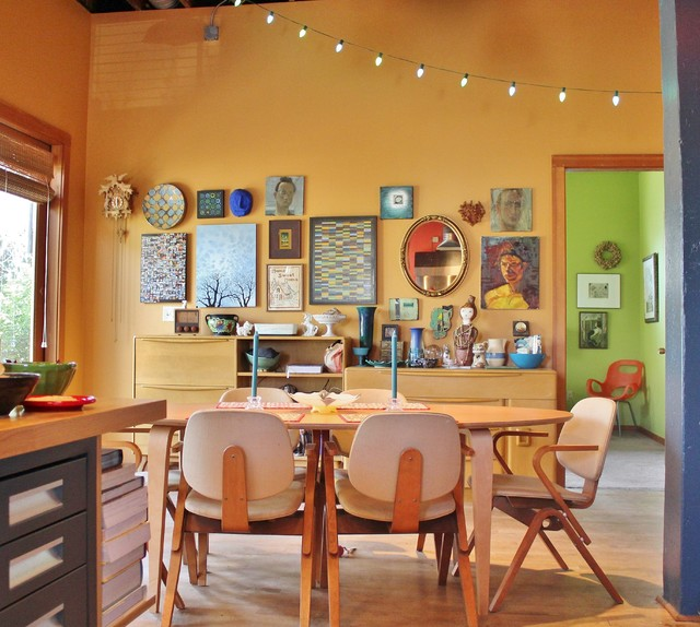 """My Houzz: A """"Big Beige Box"""" Becomes a Colorful Live/Work Home eclectic-dining-room"""