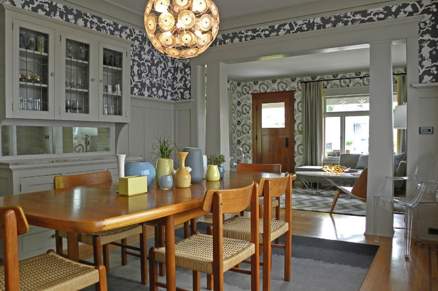 Victorian Medium Tone Wood Floor Dining Room Idea In Seattle With  Multicolored Walls