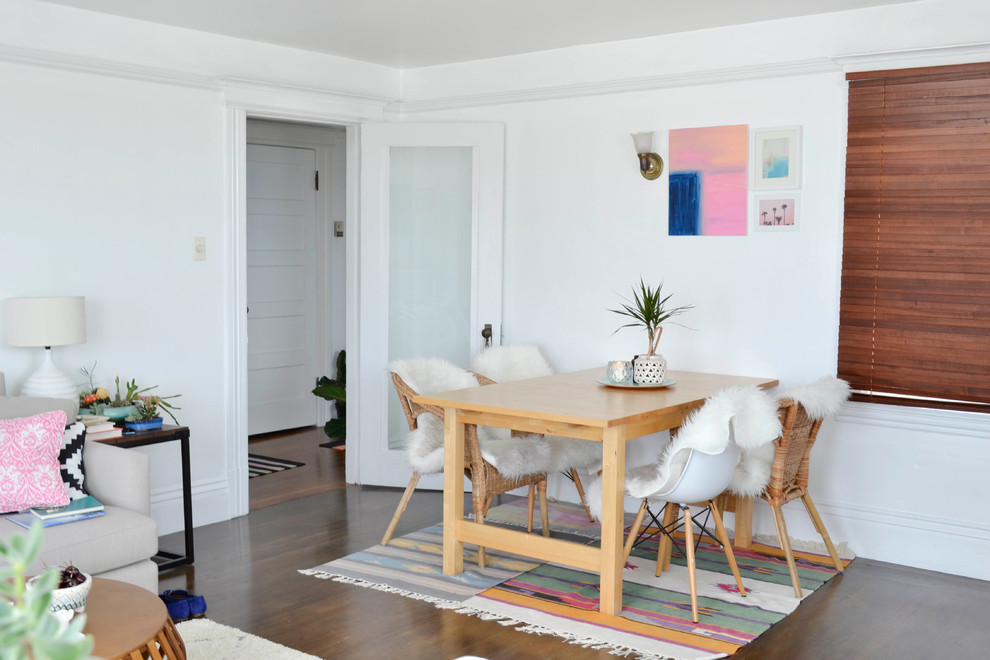 Inspiration for a small eclectic dark wood floor great room remodel in San Francisco with white walls