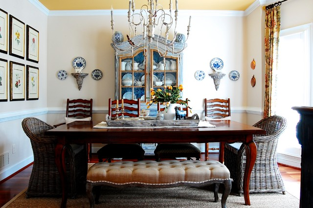 My Houzz: French Country Meets Southern Farmhouse Style in Georgia farmhouse-dining-room