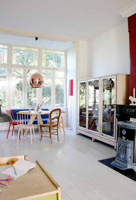 The home of Romy and Ilya eclectic-dining-room