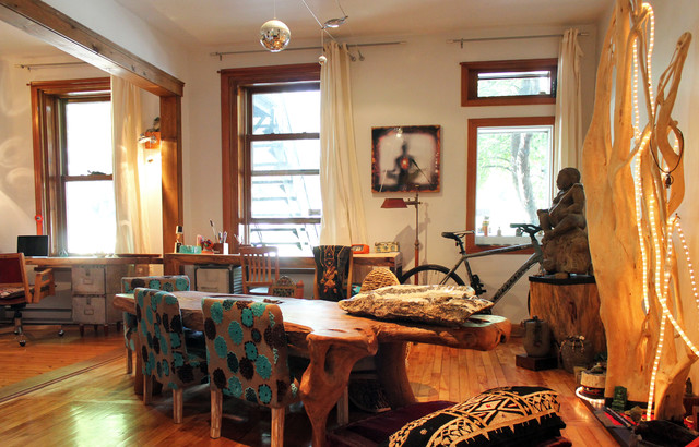 My Houzz: Urban Goes Exotic in a Montreal Artist's Home eclectic-dining-room