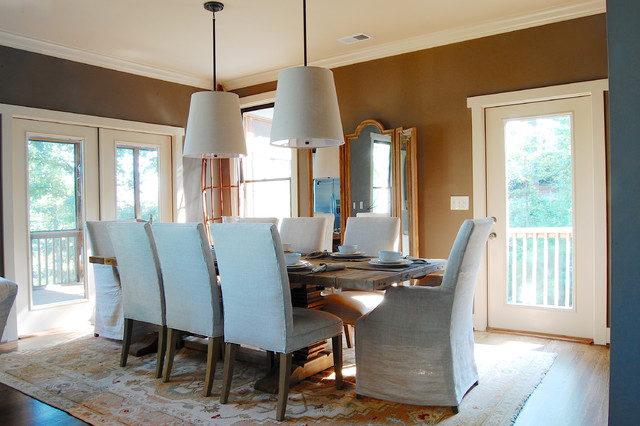My Houzz: Whitley Lake House - Beach Style - Dining Room - New York ...