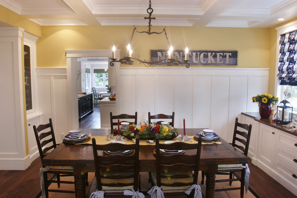 Example of a beach style dark wood floor dining room design in Los Angeles with yellow walls