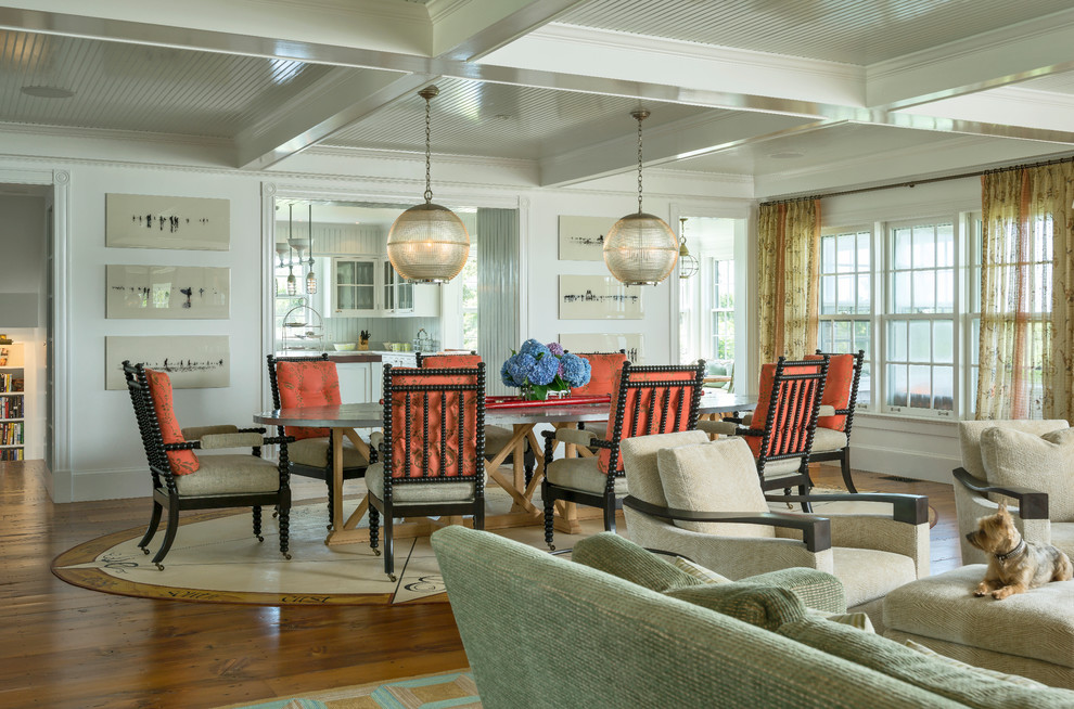 Great room - victorian medium tone wood floor great room idea in New York with white walls