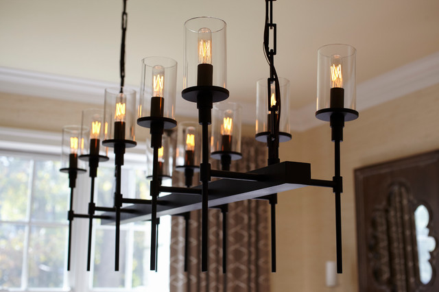 napa chic custom chandelier transitional dining room
