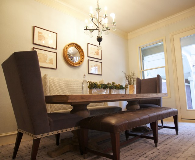 Napa inspired southlake townhouse for family of 8 for Dining room ideas for townhouse
